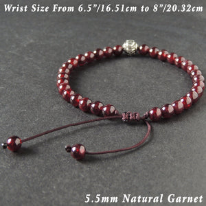 5.5mm Grade AAA Garnet Adjustable Braided Gemstone Bracelet with S925 Sterling Silver OM Bead - Handmade by Gem & Silver BR1013