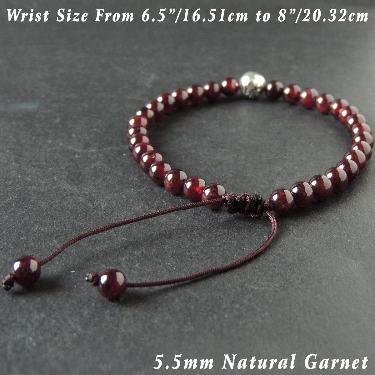 5.5mm Grade AAA Garnet Adjustable Braided Gemstone Bracelet with S925 Sterling Silver OM Emblem Bead - Handmade by Gem & Silver BR1019