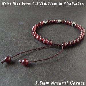5.5mm Grade AAA Garnet Adjustable Braided Gemstone Bracelet with S925 Sterling Silver Small Cross Beads - Handmade by Gem & Silver BR1022