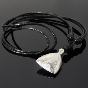 Adjustable Wax Rope Necklace with S925 Sterling Silver Lucky Money Bag Pendant - Handmade by Gem & Silver NK171