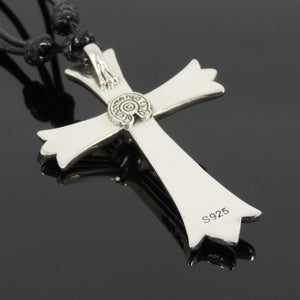 Adjustable Wax Rope Necklace with S925 Sterling Silver Cross Pendant - Handmade by Gem & Silver NK173