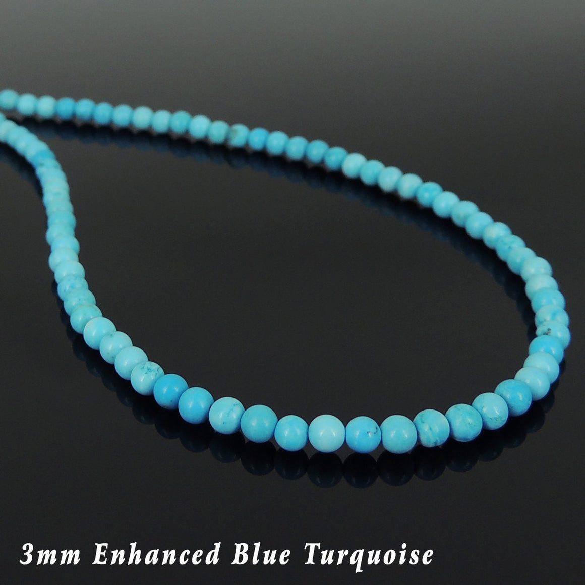 3mm Enhanced Turquoise Healing Gemstone Necklace with S925 Sterling Silver Seamless Beads & Clasp - Handmade by Gem & Silver NK143