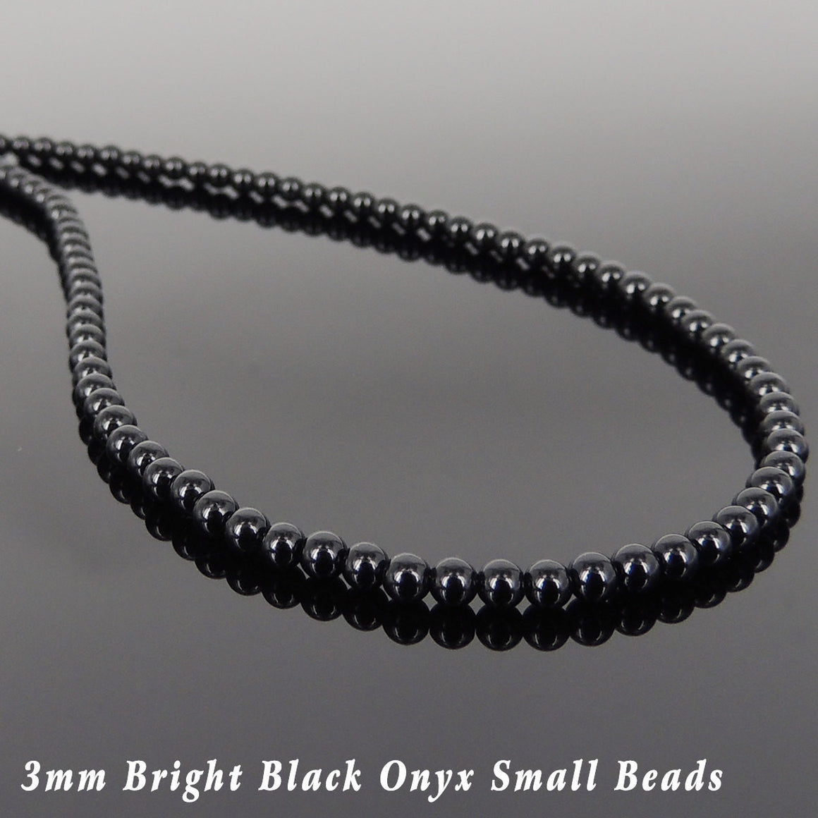 3mm Bright Black Onyx Healing Gemstone Necklace with S925 Sterling Silver Seamless Beads & Clasp - Handmade by Gem & Silver NK144