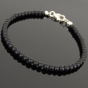 3mm Matte Black Onyx Healing Gemstone Bracelet with S925 Sterling Silver Spacer Beads & Clasp - Handmade by Gem & Silver BR1025