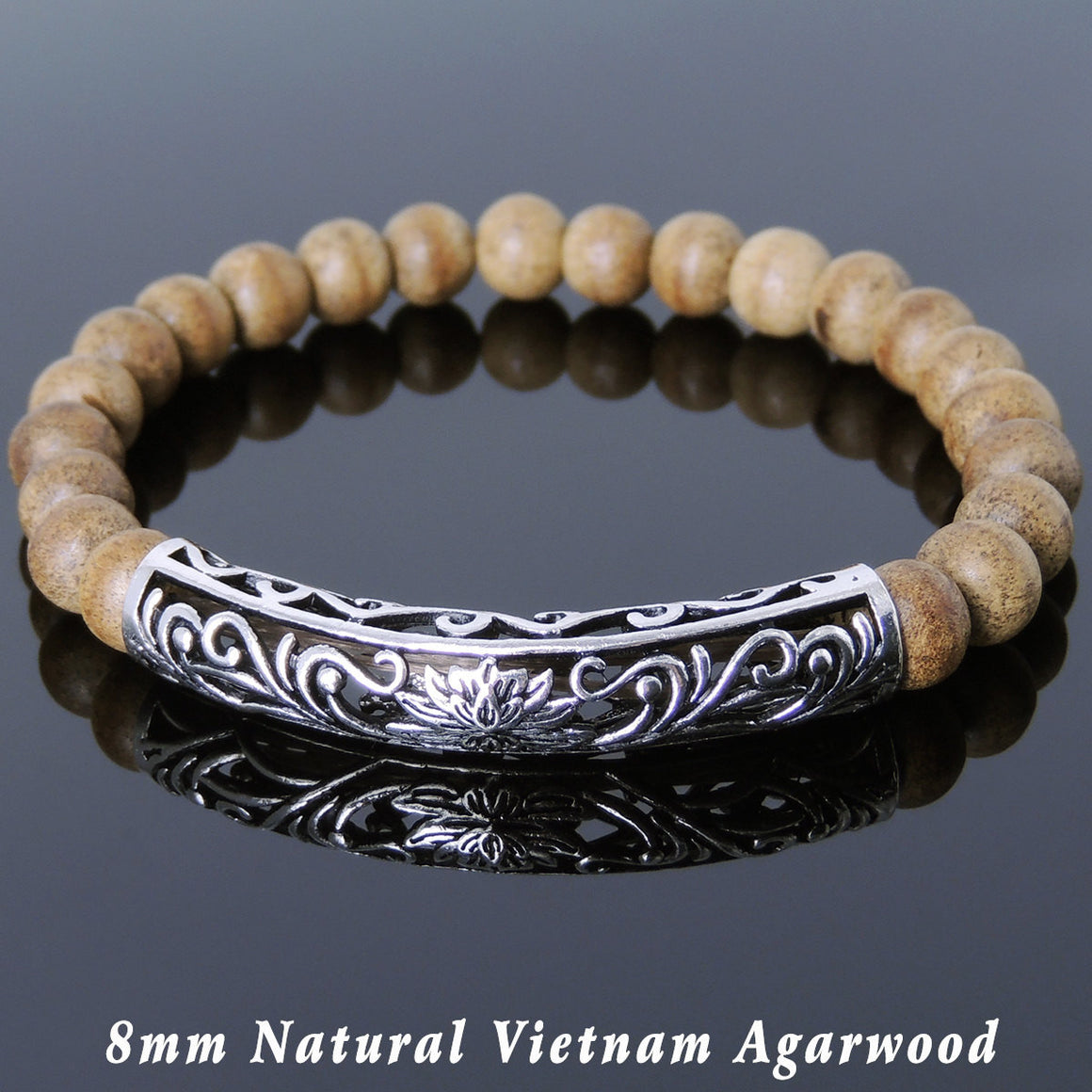8mm Vietnam Agarwood Bracelet for Prayer & Meditation with S925 Sterling Silver Lucky Lotus Charm - Handmade by Gem & Silver BR910