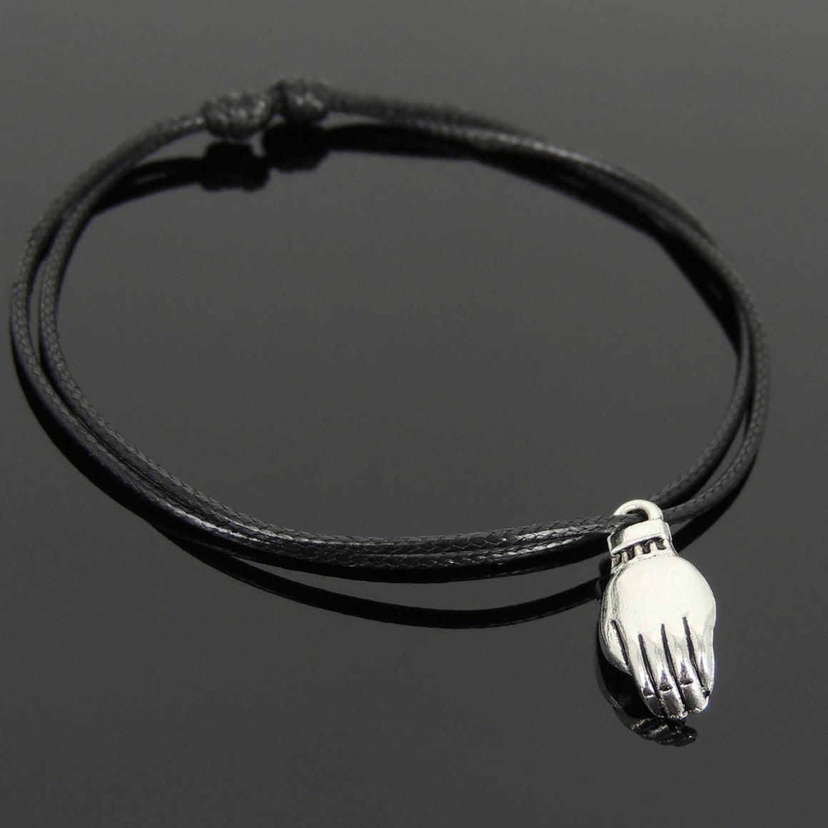 Adjustable Wax Rope Bracelet with Tibetan Silver Palm Cradling Buddha Pendant - Handmade by Gem & Silver TSB302