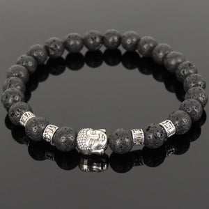 Lava Rock Healing Stone Bracelet with Tibetan Silver Guanyin Buddha & OM Meditation Spacer Beads - Handmade by Gem & Silver TSB304