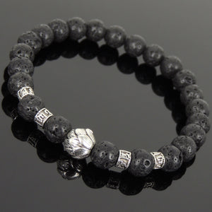 8mm Lava Rock Healing Stone Bracelet with Tibetan Silver Lotus Bead & OM Meditation Spacer Beads - Handmade by Gem & Silver TSB305
