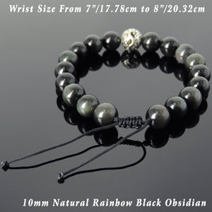 Dragon Glass Healing Rainbow Black Obsidian Gemstones, Elegantly Carved Dragon Bead, Handmade adjustable bracelet, Symbol of protection, courage, tranquility, strength, love, spirituality, Gemstone jewelry for All Genders, Prayer, Healing, Yoga, Use with Chakra Meditation to increase your energy flow – durable black cords, adjustable braided drawstring, sterling silver S925, includes FREE Jewelry Bag, Sterling Silver Jewelry Cleaning Cloth