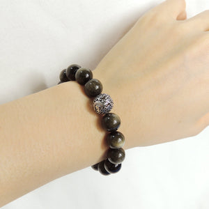 10mm Golden Obsidian Healing Gemstone Bracelet with S925 Sterling Silver Dragon Protection Bead - Handmade by Gem & Silver BR930
