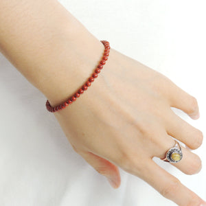 3mm Red Jasper Healing Stone Bracelet with S925 Sterling Silver Spacer Beads & Clasp - Handmade by Gem & Silver BR935