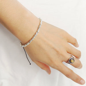 Adjustable Braided Braided Bracelet with S925 Sterling Silver Nugget Beads Handmade in Thailand - Handmade by Gem & Silver BR937