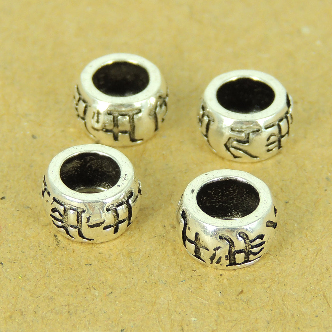 4 PCS Vintage Barrel Spacers - S925 Sterling Silver - Wholesale by Gem & Silver WSP497X4