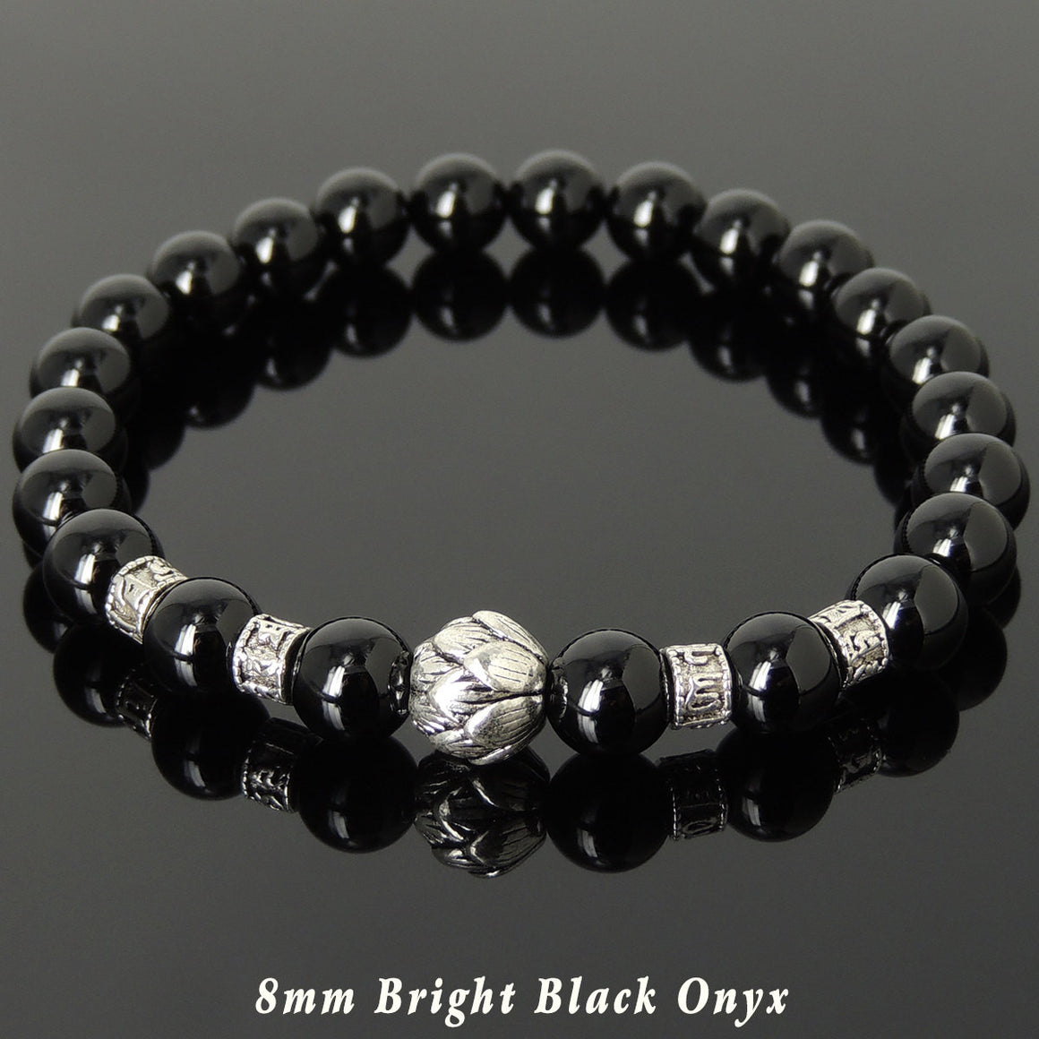 Bright Black Onyx Healing Gemstone Bracelet with Tibetan Silver Lotus Bead & OM Meditation Spacer Beads - Handmade by Gem & Silver TSB309