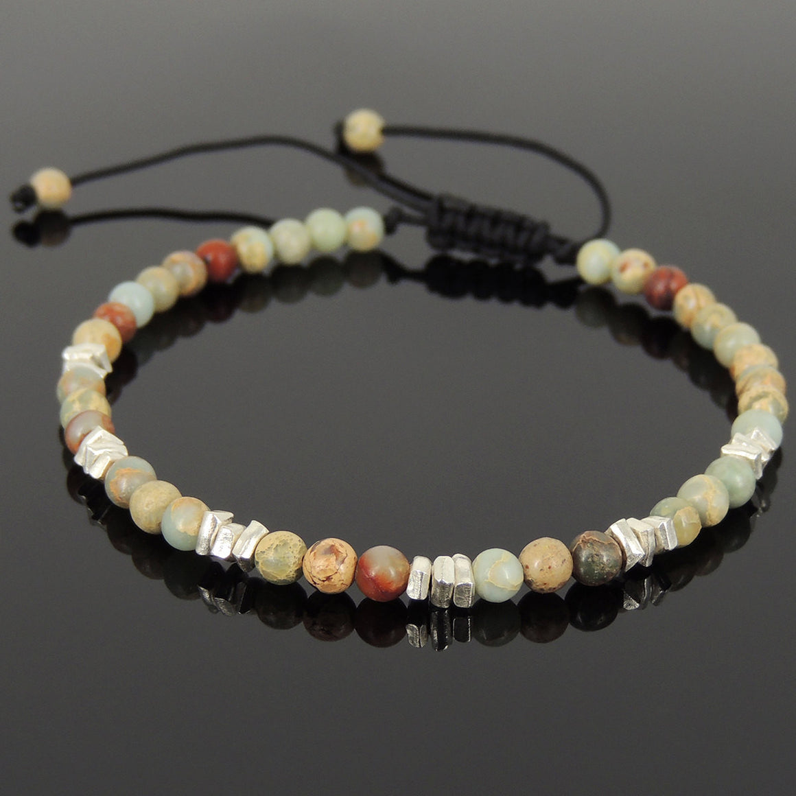 4mm Jasper Stone Adjustable Braided Gemstone Bracelet with S925 Sterling Silver Nugget Spacers - Handmade by Gem & Silver BR949