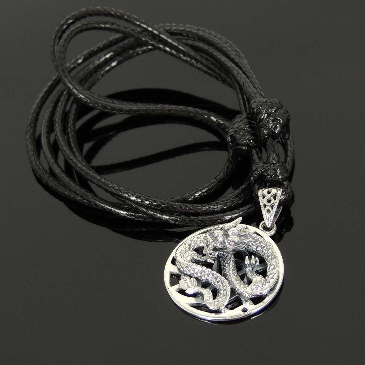 Adjustable Wax Rope Necklace with S925 Sterling Silver 3D Dragon Pendant - Handmade by Gem & Silver NK161