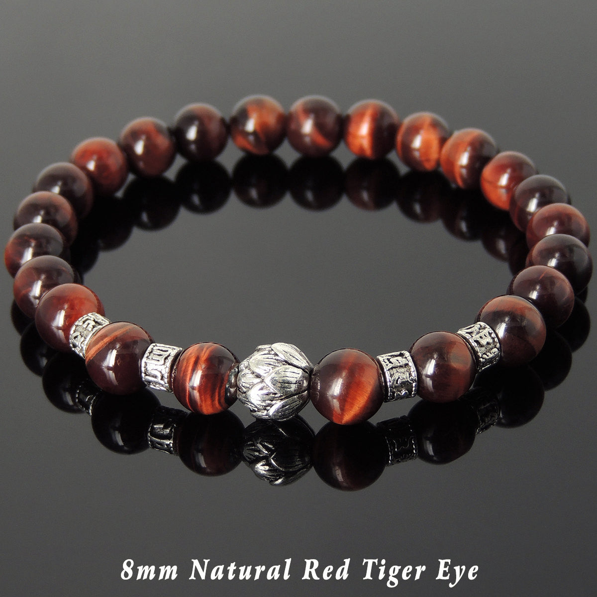 8mm Red Tiger Eye Healing Gemstone Bracelet with Tibetan Silver Lotus Bead & OM Meditation Spacer Beads - Handmade by Gem & Silver TSB317
