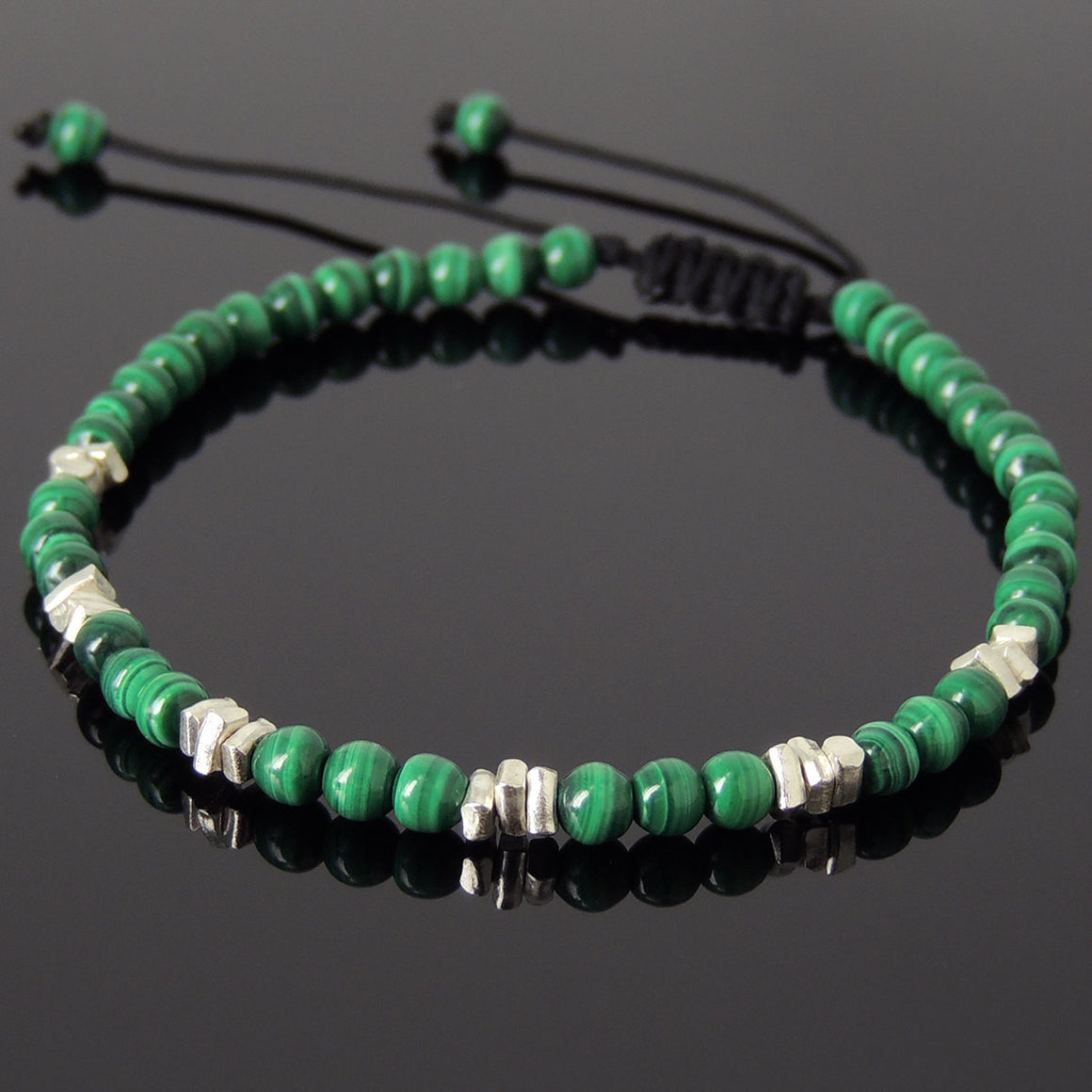 4mm Malachite Adjustable Braided Gemstone Bracelet with S925 Sterling Silver Nugget Beads DiyNotion BR951