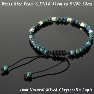 4mm Mixed Chrysocolla Lapis Lazuli Adjustable Braided Gemstone Bracelet with S925 Sterling Silver Nugget Beads - Handmade by Gem & Silver BR955