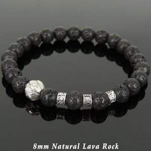 8mm Lava Rock Healing Stone Bracelet with Tibetan Silver Lotus Bead & OM Meditation Spacer Beads - Handmade by Gem & Silver TSB321