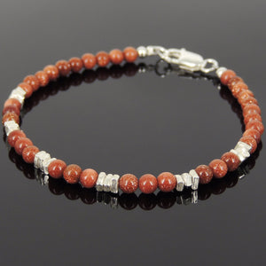 4mm Golden Sandstone Healing Gemstone Bracelet with S925 Sterling Silver Nugget Beads & Clasp - Handmade by Gem & Silver BR963