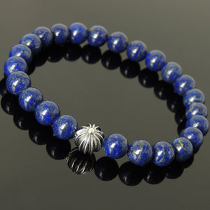 8mm Lapis Lazuli Healing Gemstone Bracelet with S925 Sterling Silver Star Cross Bead - Handmade by Gem & Silver BR302