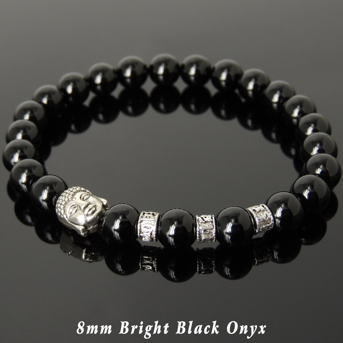 Bright Black Onyx Healing Gemstone Bracelet with Tibetan Silver Guayin Buddha & OM Meditation Spacer Beads - Handmade by Gem & Silver TSB324