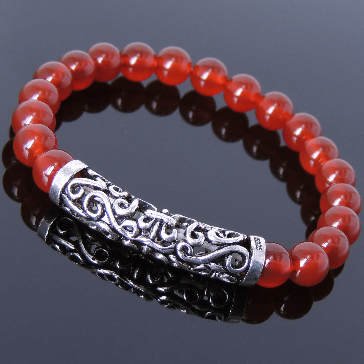 8mm Red Agate Healing Gemstone Bracelet with S925 Sterling Silver Celtic Fleur de Lis Charm - Handmade by Gem & Silver BR973