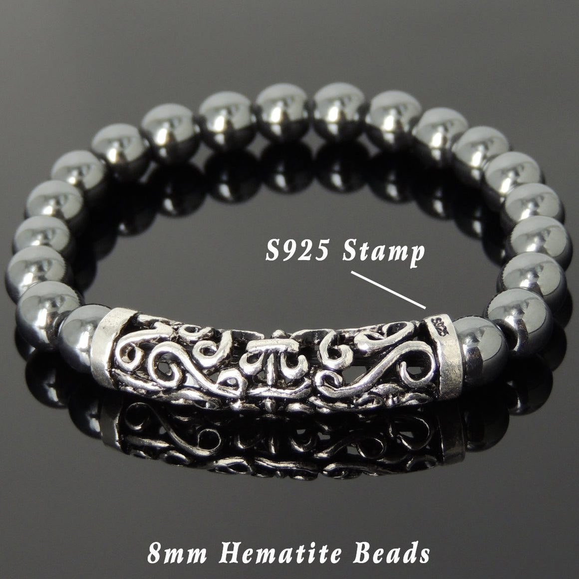 8mm Hematite Healing Gemstone Bracelet with S925 Sterling Silver Celtic Fleur de Lis Charm - Handmade by Gem & Silver BR978
