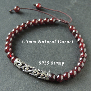 5.5mm Garnet Adjustable Braided Bracelet with S925 Sterling Silver Wave Charm - Handmade by Gem & Silver BR982