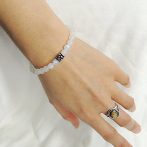 6mm Grade AA Moonstone Healing Gemstone Bracelet with S925 Sterling Silver Fleur de Lis Barrel Bead - Handmade by Gem & Silver BR1041