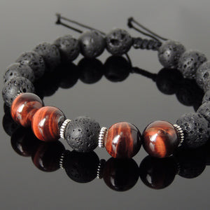 10mm Red Tiger Eye & Lava Rock Adjustable Braided Stone Bracelet with Tibetan Silver Spacers - Handmade by Gem & Silver TSB270