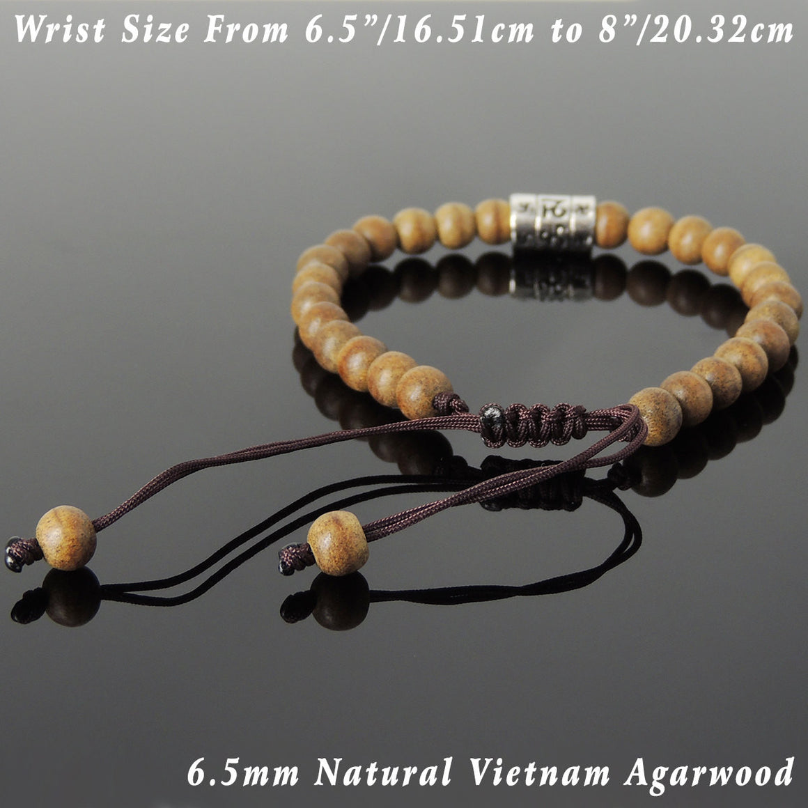 6.5mm Agarwood Mala Adjustable Bracelet with S925 Sterling Silver OM Buddhism Charm - Handmade by Gem & Silver BR835