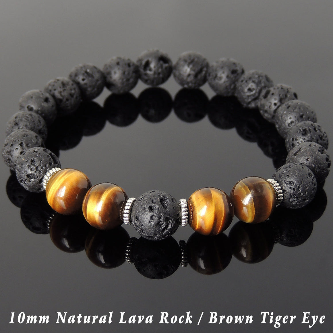 10mm Brown Tiger Eye & Lava Rock Healing Stone Bracelet with Tibetan Silver Spacers - Handmade by Gem & Silver TSB277