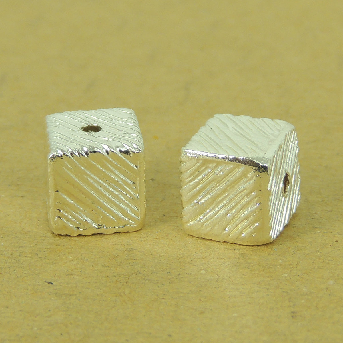 2 PCS Distressed Cube Beads - S925 Sterling Silver WSP522X2