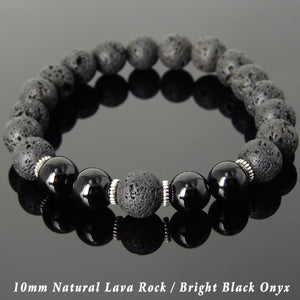 10mm Bright Black Onyx & Lava Rock Healing Stone Bracelet with Tibetan Silver Spacers - Handmade by Gem & Silver TSB282
