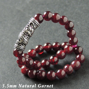 5.5mm Garnet Healing Gemstone Bracelet with S925 Sterling Silver Dragon Protection Charm - Handmade by Gem & Silver BR990