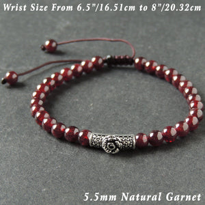 5.5mm Garnet Adjustable Braided Bracelet with S925 Sterling Silver Rose Charm - Handmade by Gem & Silver BR996