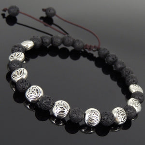 6mm Lava Rock Adjustable Braided Stone Bracelet with Tibetan Silver Engraved Lotus Beads - Handmade by Gem & Silver TSB239