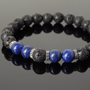 8mm Lapis Lazuli & Lava Rock Healing Stone Bracelet with S925 Sterling Silver Spacers - Handmade by Gem & Silver BR1005