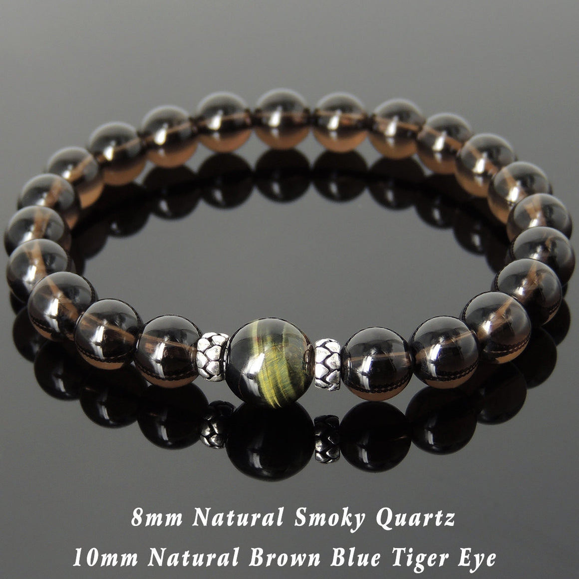 Smoky Quartz & Brown Blue Tiger Eye Healing Gemstone Bracelet with S925 Sterling Silver Artisan Spacer Beads - Handmade by Gem & Silver BR1046