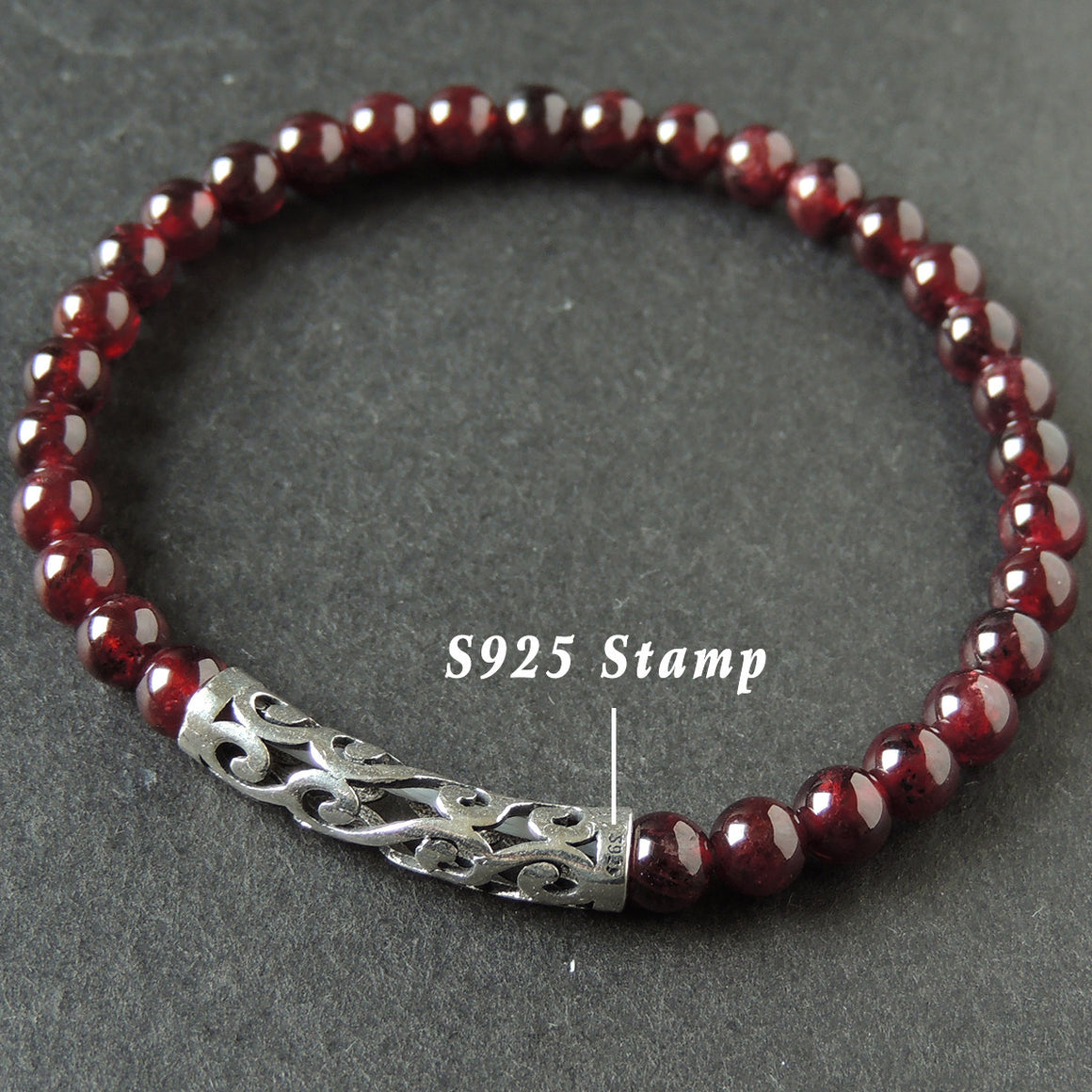 5.5mm Garnet Healing Gemstone Bracelet with S925 Sterling Silver Wave Charm - Handmade by Gem & Silver BR469