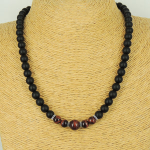 Red Tiger Eye & Matte Black Onyx Healing Gemstone Necklace with S925 Sterling Silver Spacers & Clasp - Handmade by Gem & Silver NK164