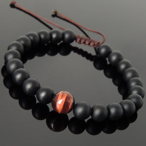 Multicolor Healing Crystals Braided Bracelet Handmade jewelry with Red Tiger Eye and Matte Black Onyx healing gemstones, Protection, Yoga, Compassion, Gemstone Jewelry for Men's Women's Daily Wear, Use with Chakra Meditation to increase your energy flow, strength, serenity, patience, Courage, Love, Spirituality, Prayer - Modern Design, Includes FREE jewelry bag