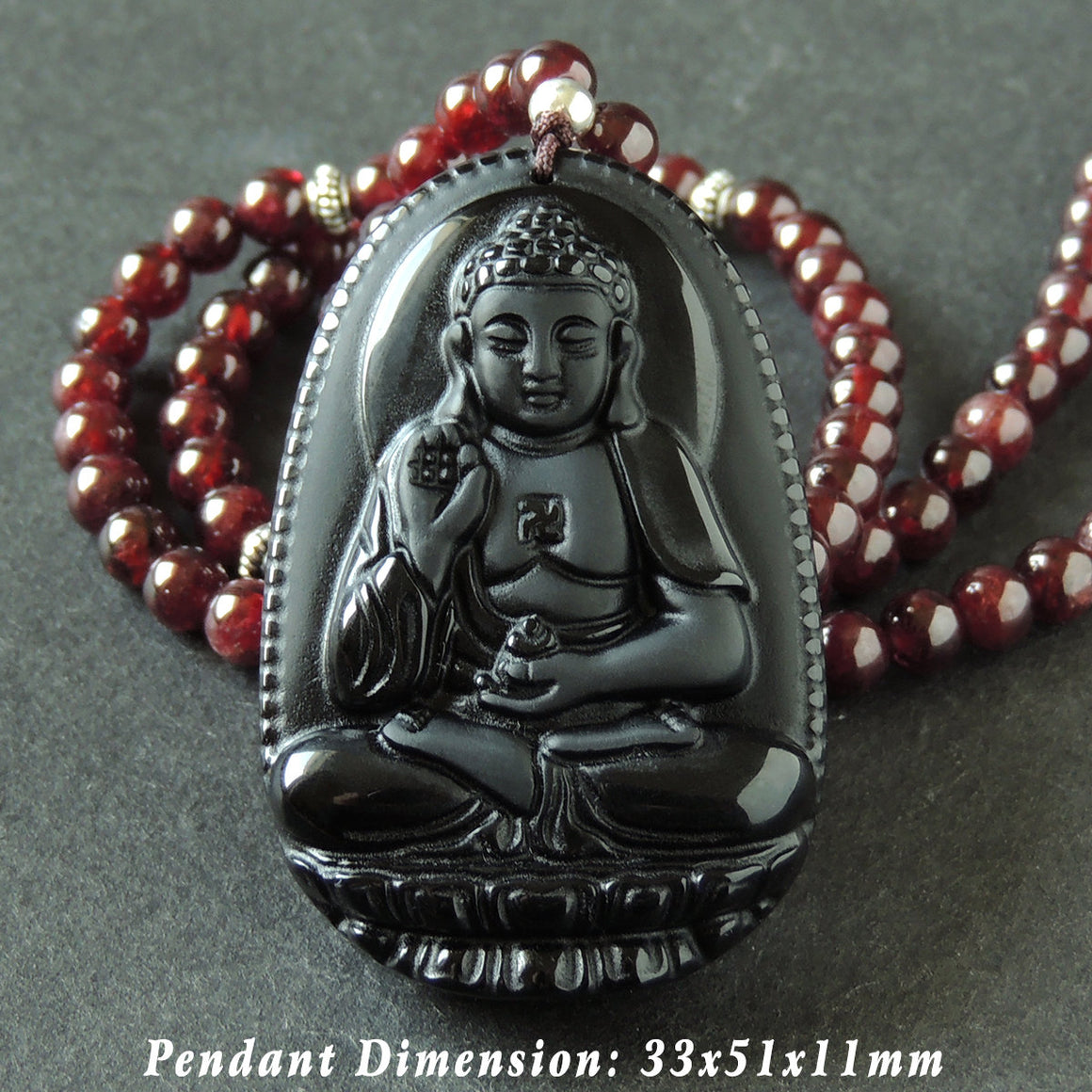 5.5mm Garnet & Black Obsidian Guanyin Buddha Pendant Adjustable Braided Necklace with S925 Sterling Silver Spacer Beads - Handmade by Gem & Silver NK168