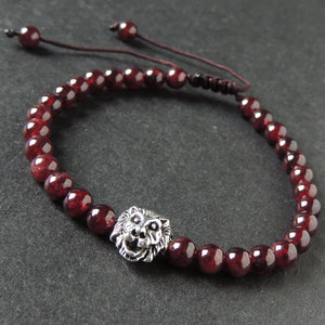 5.5mm Grade AAA Garnet Adjustable Braided Bracelet with Tibetan Silver Lion Head Courage Bead - Handmade by Gem & Silver TSB285