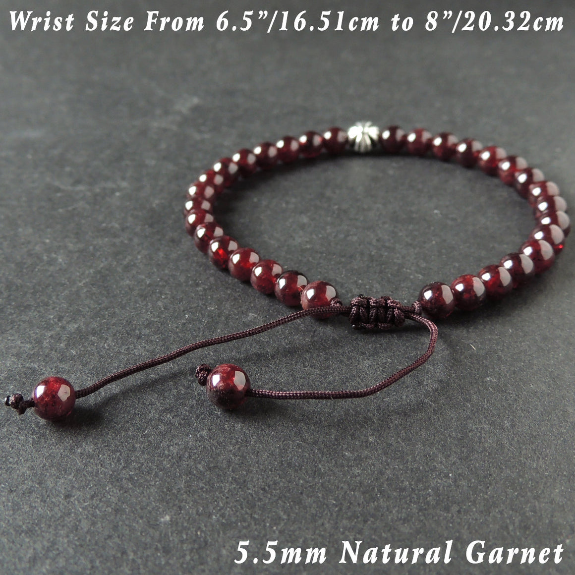 5.5mm Natural Garnet Adjustable Braided Gemstone Bracelet with Tibetan Silver Cross Bead - Handmade by Gem & Silver TSB286