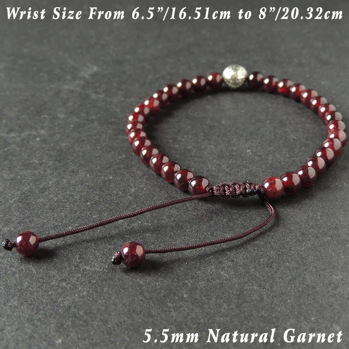 5.5mm Garnet Adjustable Braided Bracelet with Tibetan Silver 'Ping An' Protection Bead - Handmade by Gem & Silver TSB289