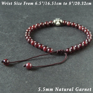 5.5mm Garnet Gemstone Adjustable Braided Bracelet with Tibetan Silver Cross Bead - Handmade by Gem & Silver TSB290