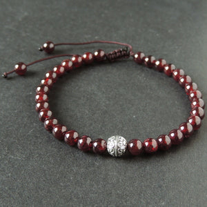 5.5mm Grade AAA Garnet Adjustable Braided Bracelet with Tibetan Silver Floral Protection Bead - Handmade by Gem & Silver TSB292